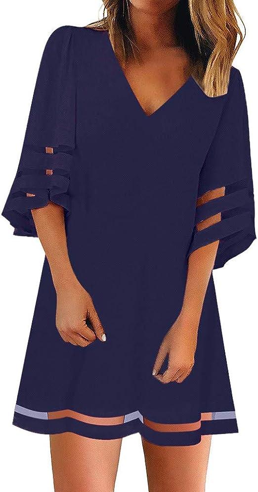 Vestido Camisa para Mujer Blusa con Panel de Malla Cuello en V Suelta Manga Campana 3/4 Verano Mujer Impresión Mini Vestidos Playa Elegante Corto Fiesta Cuello Redondo Mangas: Amazon.es: Ropa y accesorios