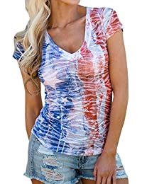 40e36ad381 TIFENNY Womens Sleeveless Vest Patriotic Stripes Star American Flag Print  Tank Top American Independence Day Vest