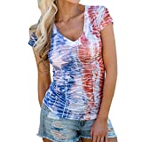 Women's American Flag Print Tank Top Independence Day Faded Patriotic Stars Stripes T-Shirt Casual Short Sleeve Clothes (Blue, Large)