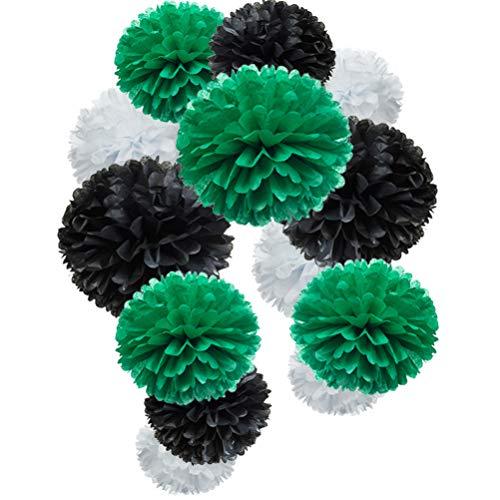 Paper Flower Tissue Pom Poms Party Supplies (black,green,white,12pc) ()