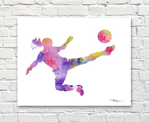Girl Soccer Player Abstract Watercolor 11 X 14 Art Print by Artist DJ Rogers