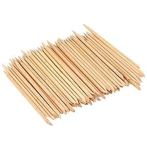 KINGMAS 100 Pcs Nail Art Orange Wood Stick Sticks Cuticle Pusher Remover Manicure Pedicure Tool, 4.5 inch