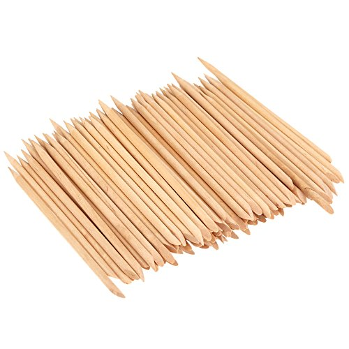 KINGMAS 100 Pcs Nail Art Orange Wood Stick Sticks Cuticle Pusher Remover Manicure Pedicure Tool, 4.5 inch ()