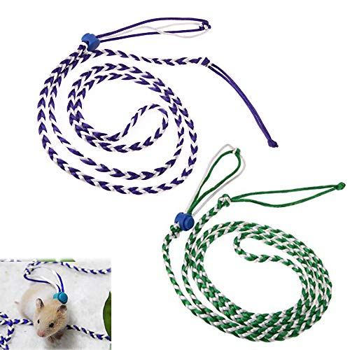 PIVBY Adjustable Hamster Leash Harness for Rats Ferret Mouse Squirrel Small Animal Pack of 2 ()