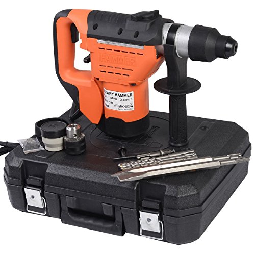 "Goplus 1-1/2"" SDS Drill, 1100W Electric Rotary Hammer, Plus Demolition Bits, Variable Speed, Orange"
