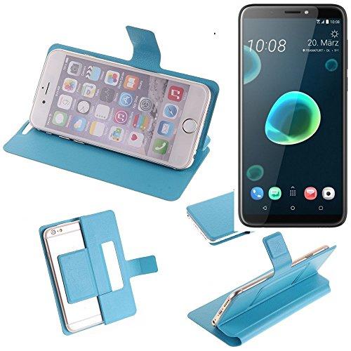 Caso de protección cubierta del tirón para HTC Desire 12+, azul claro | estilo del libro cartera cubierta delgada - K-S-Trade (TM)