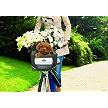 Yosoo Foldable Pet Bike Bicycle Basket Carrier with Durable Oxford Material Waterproof & Washable Liner for Small Dogs & Cats Travel