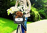 Yosoo Portable Pet Travel Bike Bicycle Basket Bag Carrier for Puppy Small Dogs Puppy with Front & Side Pockets-Safe, Confortable and Easy to Clean (black)