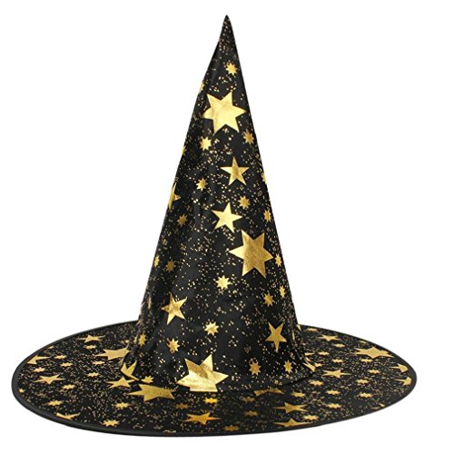 [Morecome Adult Womens Mens Witch Hat For Halloween Costume Accessory Stars Print Cap (Black)] (Womens Material Pop Star Costumes)