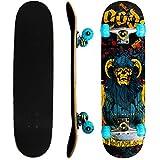 Rimable Complete Maple Skateboard 31 Inch (Horn Skull,Lighted Up Wheel)