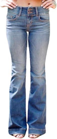 Qiangjinjiu 女性弾性フレアパンツベルトラウザースミッドウエストデニムジーンズパンツ