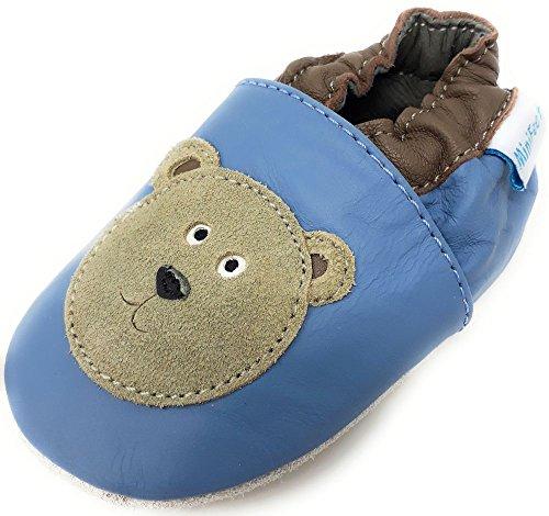MiniFeet Premium Weich Leder Babyschuhe Jungen und Mädchen 0-6, 6-12, 12-18, 18-24 Monate und 2-3, 3-4 Jahre Blau Bär