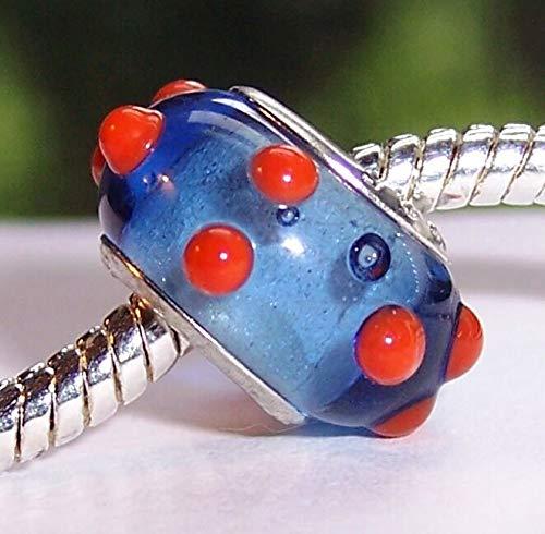 Blue Red Polka Dot Murano Glass Lampwork Bead for Silver European Charm Bracelet Fashion Jewelry for Women Man