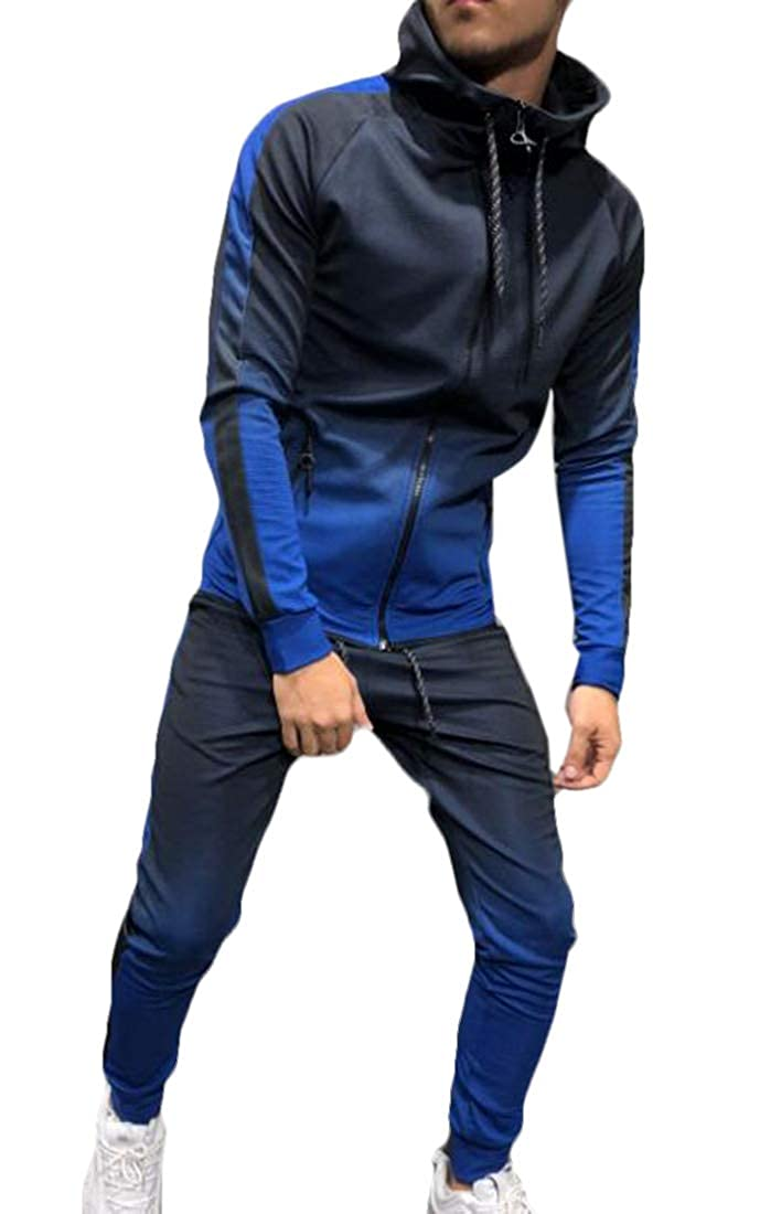 JXG Men Soft Tracksuit Hooded Fleece Thick Hoodies Jogging Sweat Suits Winter Warm Pullover Coats