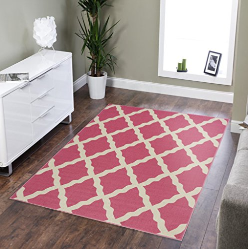 (Sweet Home Stores Clifton Collection Moroccan Trellis Design Rubberback Area Rug, Pink)