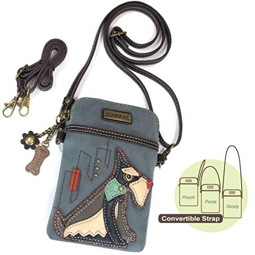 Chala Crossbody Cell Phone Purse - Women PU Leather Multicolor Handbag with Adjustable Strap (Indigo Schnauzer)