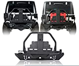 jeep bumper rack - u-Box Jeep Wrangler Rear Bumper w/Spare Tire Carrier & Oil Drum Rack Bar & Receiver Hitches for Jeep JK & Wrangler Unlimited 2007-2018