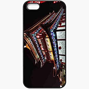 Protective Case Back Cover For iPhone 5 5S Case China Peking Chinese Architecture Lights Night Black