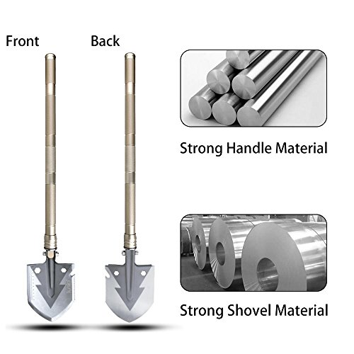 Iunio Military Portable Folding Shovel [29 inch Length] with Carrying Pouch Army Surplus Multitool Tactical Spade for Camping, Hiking, Hunting, Backpacking, Trench Entrenching Tool, Car Emergency