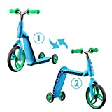 SainSmart Jr. 2 in 1 Kick Scooter 3 Wheels Balance Push Bike for Kids from 2 Years and up, Blue