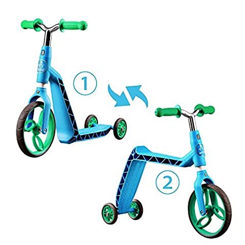SainSmart Jr. 2 in 1 Kick Scooter and 3 Wheels Balance Push Bike for Kids from 2 Years and Up (1 2 Inch Kids Pedals)