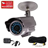 "VideoSecu Bullet Security Camera Day Night Infrared Outdoor Built-in 1/3"" SONY CCD 26 IR LEDs Surveillance Camera for CCTV DVR Home Surveillance System with Power Supply, Extension Cable 1OF"