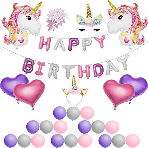 Magical Unicorn Party Supplies - Unicorn Party Decorations with BONUS UNICORN CAKE TOPPER Perfect for Birthday Party | Balloons, Headband, and Banner! By Unicorn Sparkles -