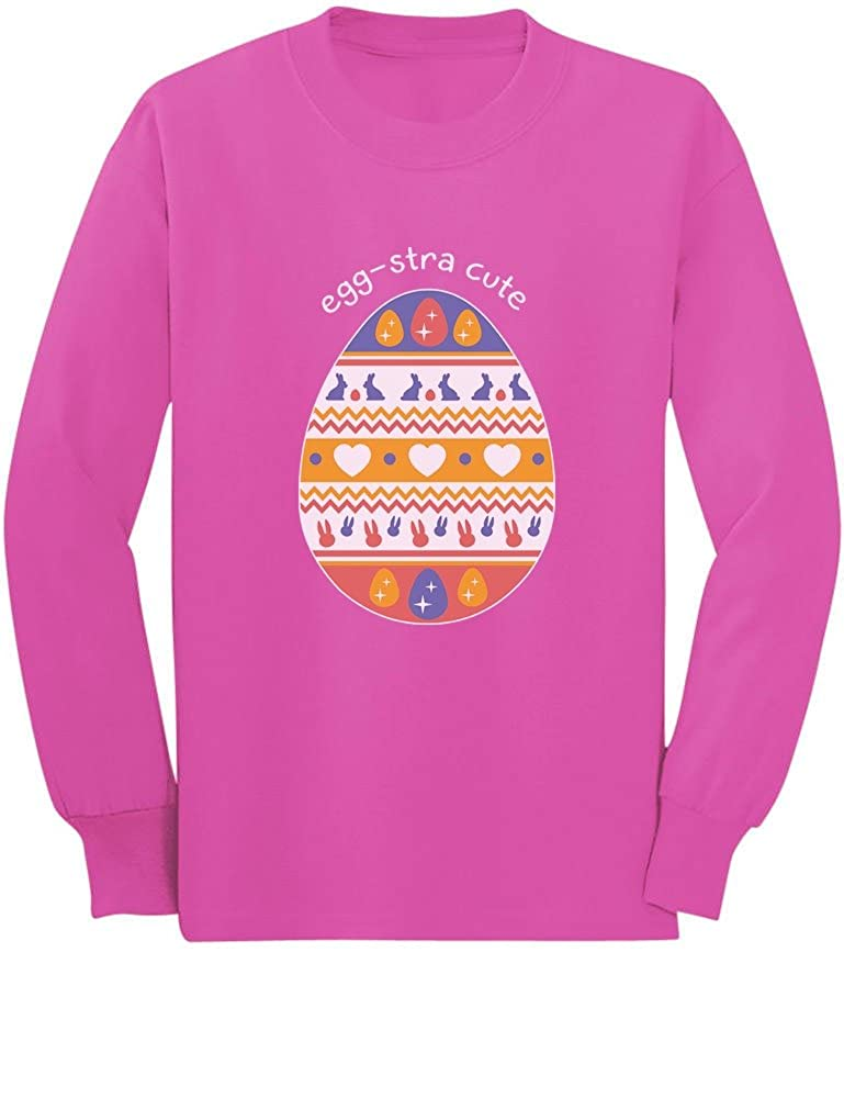 Eggstra Cute Decorated Easter Egg Toddler//Kids Long Sleeve T-Shirt 3T Pink