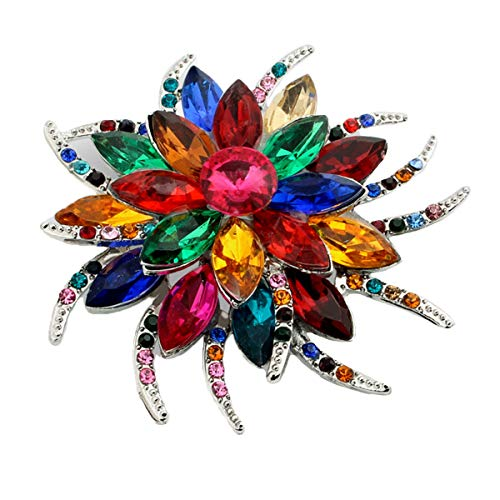 seven wolves Big Flower Brooch Pin for Women Brides Created Crystal Brooch Austrian Crystal Brooch, Multicolor A from seven wolves