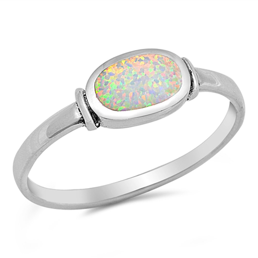 White Simulated Opal Oval Cute Ring New .925 Sterling Silver Band Sizes 4-10 Sac Silver