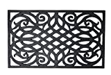 Heavy Duty Natural Rubber Outdoor Doormat, 18x30'', Entry Way Shoes Scraper Patio Rug Dirt Debris Mud Trapper Waterproof-Flocked Wrought Iron