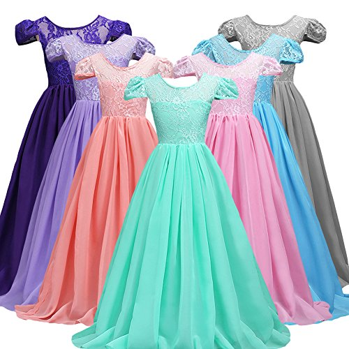 Girls Flower Lace Chiffon Long Party Wear Dresses Pageant Dance Prom Wedding Bridesmaid's Gown 7-16
