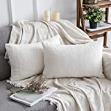 MIULEE Pack of 2 Decorative White Fur Pillow Cover Luxurious Warm Faux Rabbit Fur Throw Pillow Case Supersoft Cushion Cover for Sofa Bedroom Car 12 x 20 Inch 30 x 50 cm