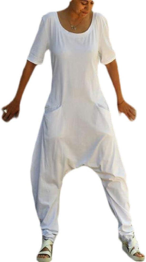 Fubotevic Womens Pockets Short Sleeve Summer Wide Leg Baggy Long Jumpsuits