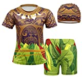 Jurebecia 3pcs Moana Maui Boys Swimming Rash Guard Swimsuit Top + Swimming Shorts Trunks with Cap Swimwear Beach Wear Green 9-10 Years