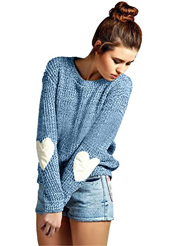 futurino Women's Heart Patchwork Elbow Crewneck Marled Knitted Pullover Sweater Navy