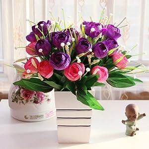 SituMi Artificial Fake Flowers Rooms Are Decorationated InKitIndoorTable OrnamentsPurple Camellia 92