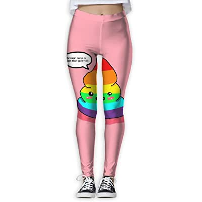 BabylLave Rainbow Shit Women Printed Full-Length Yoga Workout Leggings for Running Outdoor Sports