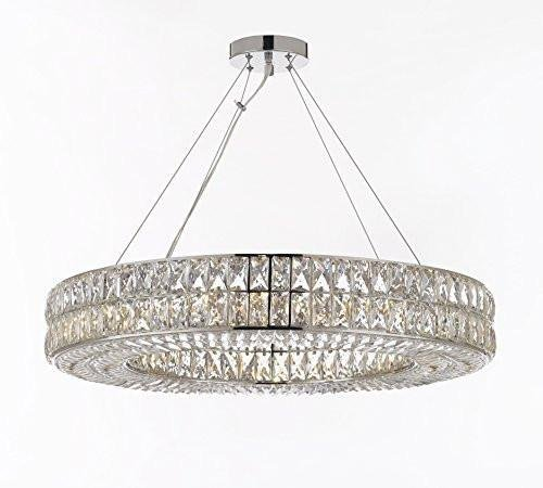 "Crystal Spiridon Ring Chandelier Chandeliers Modern/Contemporary Lighting Pendant 32"" Wide – Good for Dining Room, Foyer, Entryway, Family Room and More! For Sale"