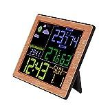Vanpower Wood Grain Weather Station Forecast Clock Wireless Thermometer Hygrometer