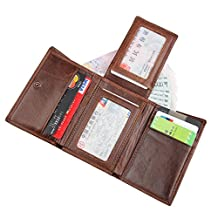 Artmi MensTrifold Wallet RFID Blocking Card Holder Leather Card Case Extra Capacity