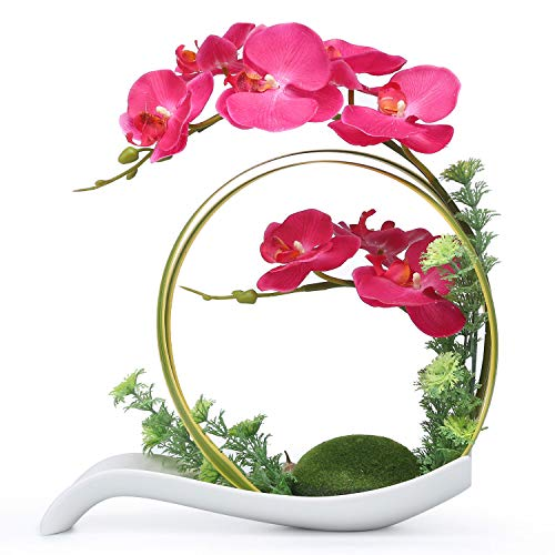 NNEE Artificial Phalaenopsis Orchid/Silk Flower Arrangement with Decorative Flower Pot - Red Orchild A323 (Silk Red Orchids)