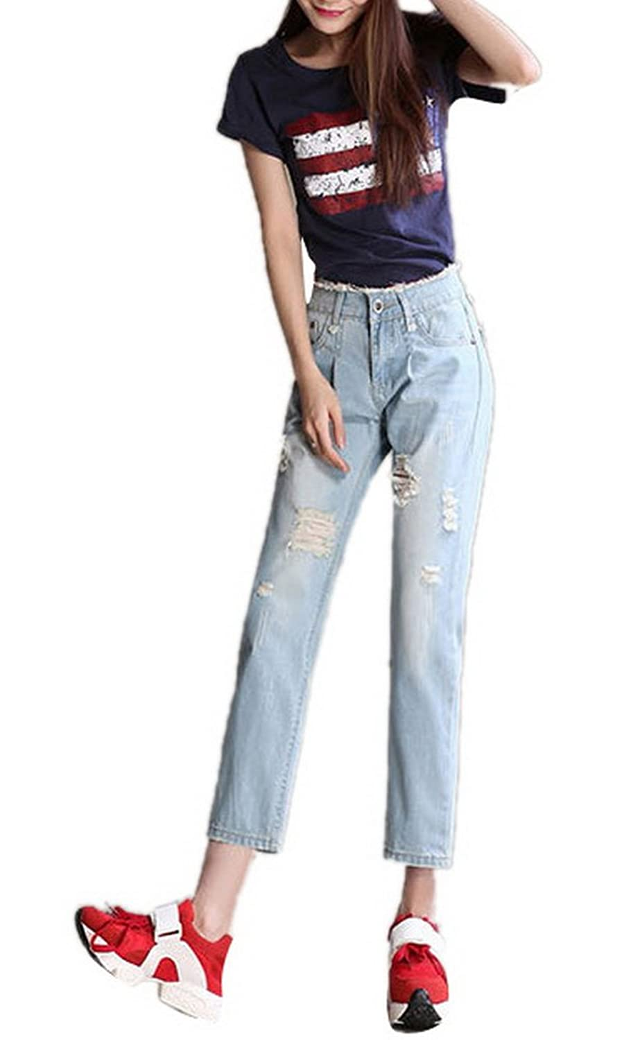 Lingswallow Women's Casual Straight Leg Jeans Ripped High Waist Blue Denim Pants