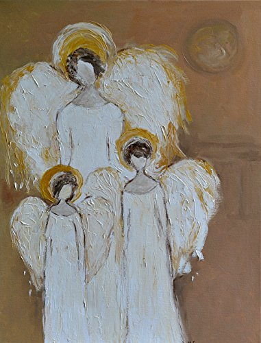 Guardian Angel Painting on CANVAS Wall Art for Living Room Christmas Original Oil Hand Painted Artwork 20x24 Angel over Kids for Home Children Ready to Hang by SmartPolonia