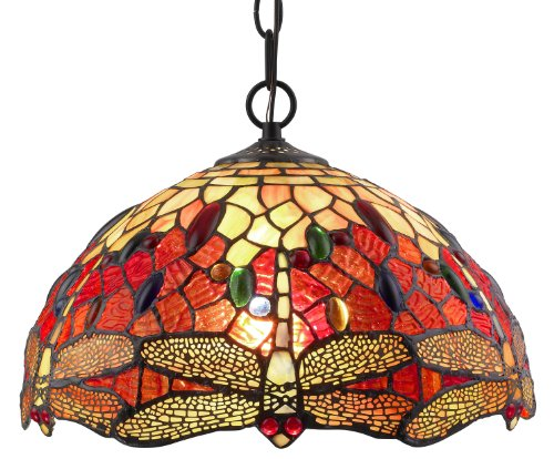 Hand Painted Glass Lamp Shades (Amora Lighting AM1034HL14 Tiffany Style Stained Glass Hanging Lamp Ceiling Fixture)