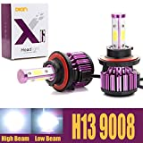 9008 bulb - H13 9008 LED Headlight Bulbs 20000LM 200W High Low Dual Beam 4 Side COB Chips 6000K Cool White Super Bright 360 Degree All-in-One Auto Headlamps Conversion Kit - 2 Yr Warranty