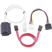 ZYCX123 SATA/PATA/IDE a USB 2.0 del convertitore Adattatore per 2,5/3,5 Pollici Hard Disk / 5 Pollici unità Ottica con Adattatore di Alimentazione CA Esterno