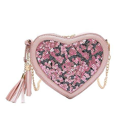 Tendance Mode Paquet Paillettes Amour épaule ZHRUI Sac Rose Sac Petit Style Diagonale chaîne HwFgdqg
