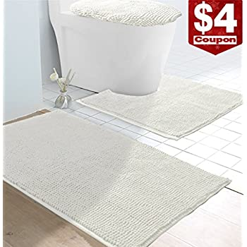 VDOMUS Soft Toilet Rug 3 Pieces Set, Non Slip Bathroom Rugs, U-Shaped Toilet Mat, Elongated Toilet Lid Cover (White)