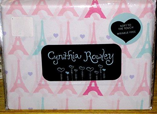 Cynthia Rowley Eiffel Tower Paris Sheet Set, Twin Size (Twin Sheets Paris)